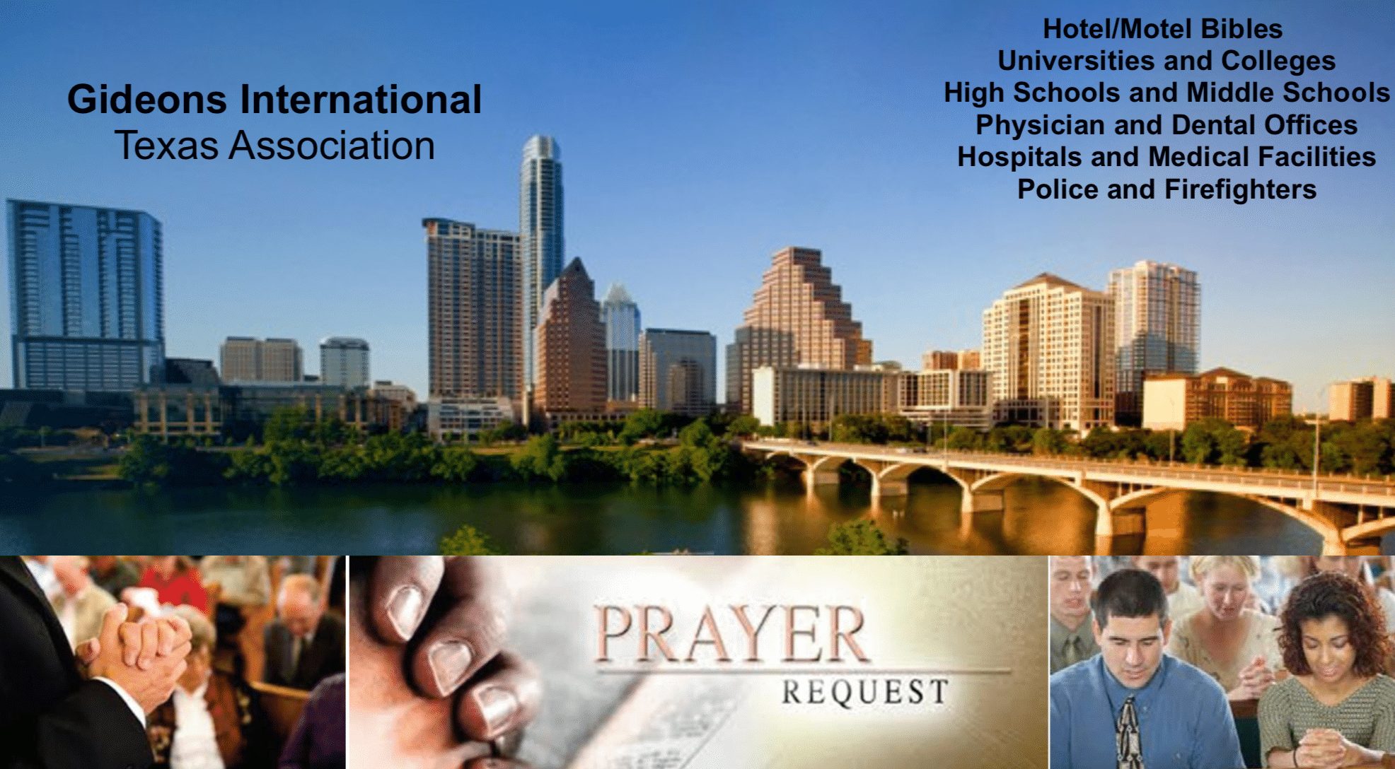 The Mission Fund of Good Shepherd donated $10,000 to Gideons International to help purchase Bibles for the Austin Metro Blitz held on October 27 – 30, 2019. Please join with the Gideons in praying for: A great harvest of new believers in Christ as a result of these Scriptures being distributed to hotels, motels, hospitals, and medical facilities Those who come to Christ through reading God's Word will find an evangelical church where they can grow in the faith College and University students to read and share the Scriptures they received and that the Word of God will impact their lives High school and middle school students to accept and read the Scriptures and to find hope for their future and salvation in Jesus Christ Our God and Savior to receive all the honor, glory, and praise